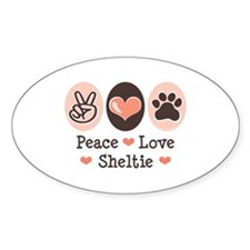 Peace Love Sheltie Oval Decal
