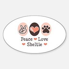 Peace Love Sheltie Oval Decal