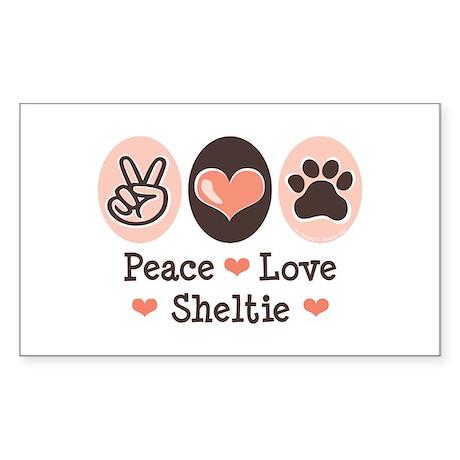 Peace Love Sheltie Rectangle Sticker