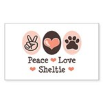 Peace Love Sheltie Rectangle Sticker