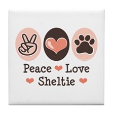 Peace Love Sheltie Tile Coaster