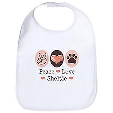 Peace Love Sheltie Bib