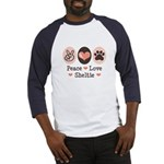 Peace Love Sheltie Baseball Jersey