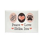Peace Love Shiba Inu Rectangle Magnet (100 pack)