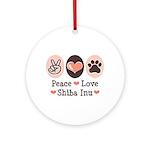 Peace Love Shiba Inu Ornament (Round)