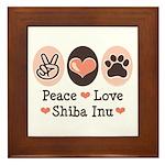 Peace Love Shiba Inu Framed Tile