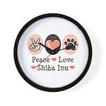 Peace Love Shiba Inu Wall Clock