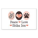 Peace Love Shiba Inu Rectangle Sticker