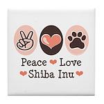 Peace Love Shiba Inu Tile Coaster