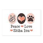 Peace Love Shiba Inu Postcards (Package of 8)