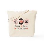 Peace Love Shiba Inu Tote Bag