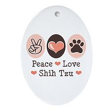 Peace Love Shih Tzu Oval Ornament