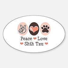 Peace Love Shih Tzu Oval Decal