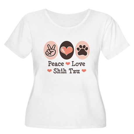 Peace Love Shih Tzu Women's Plus Size Scoop Neck T