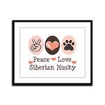 Peace Love Siberian Husky Framed Panel Print