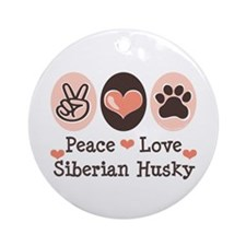 Peace Love Siberian Husky Ornament (Round)