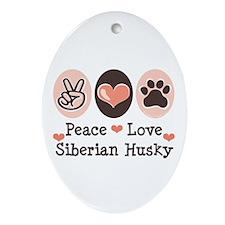 Peace Love Siberian Husky Oval Ornament