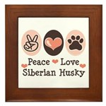Peace Love Siberian Husky Framed Tile