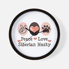 Peace Love Siberian Husky Wall Clock