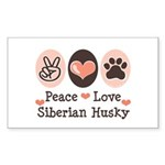 Peace Love Siberian Husky Rectangle Sticker