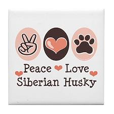 Peace Love Siberian Husky Tile Coaster