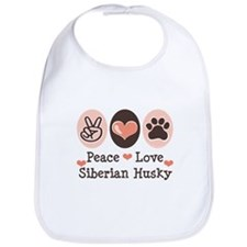 Peace Love Siberian Husky Bib