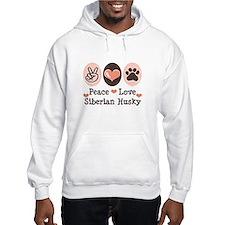 Peace Love Siberian Husky Hoodie
