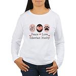 Peace Love Siberian Husky Women's Long Sleeve T-Sh