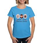Peace Love Siberian Husky Women's Dark T-Shirt