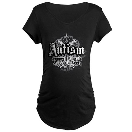 Autism Tribal 2 Maternity Dark T-Shirt