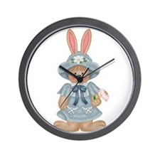 Blue Country Bunny Wall Clock