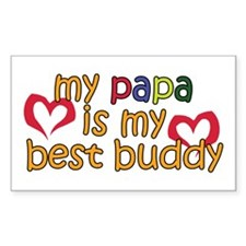 Papa is My Best Buddy Rectangle Decal