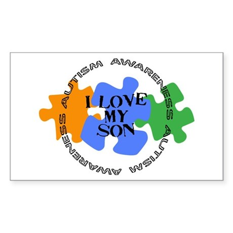 Autism Awrnss - Love Son Rectangle Sticker