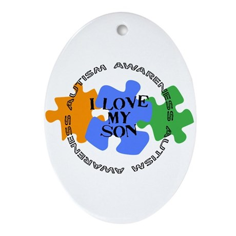 Autism Awrnss - Love Son Oval Ornament