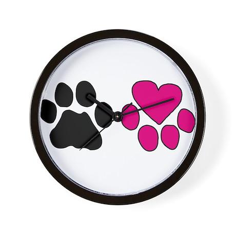 Heart Paw Wall Clock