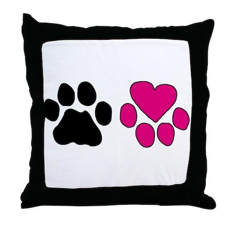 Heart Paw Throw Pillow