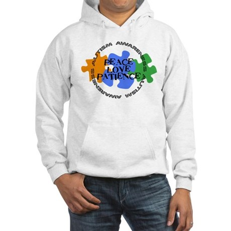 Autism Awareness - Peace Love Patience Hooded Swea