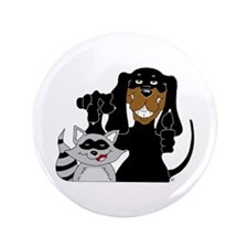 "Coonhound and Raccoon 3.5"" Button"