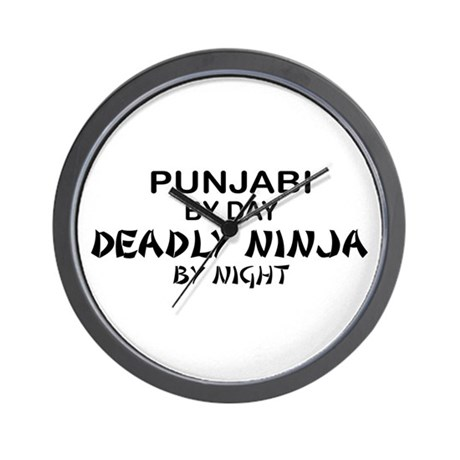 Punjabi Deadly Ninja by Night Wall Clock