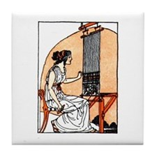 Woman Weaving at Loom - Greek Tile Coaster