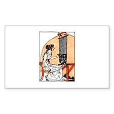 Woman Weaving at Loom - Greek Sticker (Rectangular