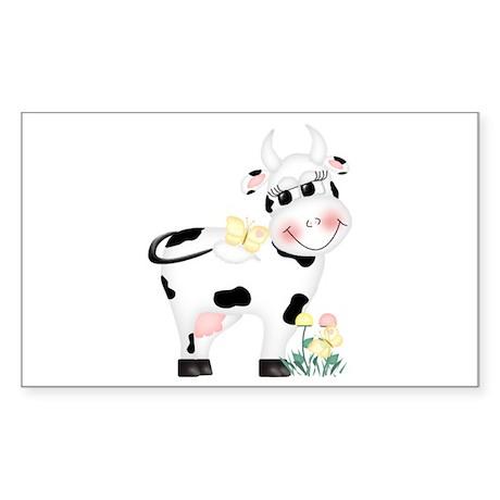 Cute Cow Rectangle Sticker