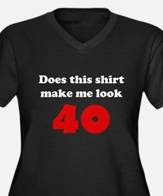 Make Me Look 40 Women's Plus Size V-Neck Dark T-Sh