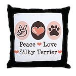 Peace Love Silky Terrier Throw Pillow