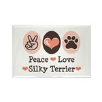 Peace Love Silky Terrier Rectangle Magnet (100 pac