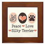 Peace Love Silky Terrier Framed Tile