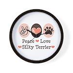 Peace Love Silky Terrier Wall Clock