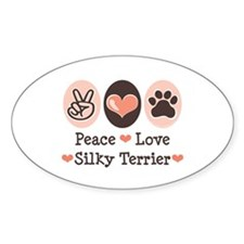 Peace Love Silky Terrier Oval Decal