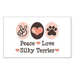 Peace Love Silky Terrier Rectangle Sticker