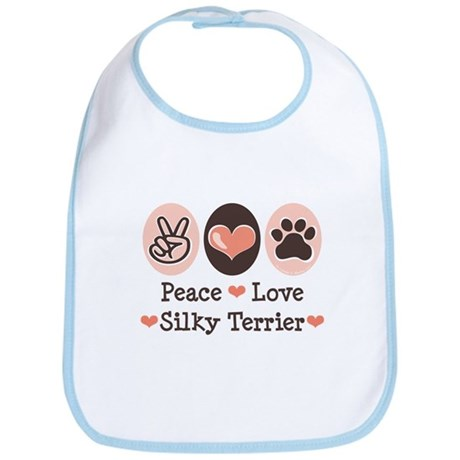 Peace Love Silky Terrier Bib